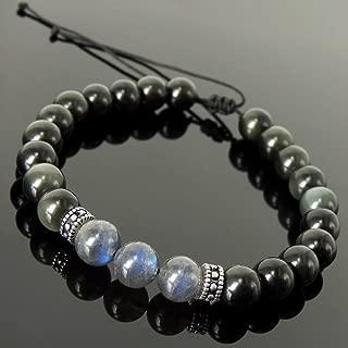 Handmade Healing Multicolor Gemstone Jewelry Braided Bracelet Mens Womens, Meditation with Rainbow Black Obsidian, Labradorite Adjustable Drawstring, Genuine 925 Purity Sterling Silver Pattern Beads