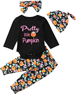 Thanksgiving Days Baby Girls Boys Clothes Newborn Letter Romper Pumpkin Pants Hats Headband Outfits Set