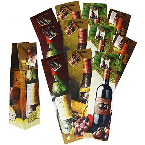 com-four® 12x Flaschentüte in schönem Design - Weinflaschen Verpackung - Geschenktasche für Wein- und Sektflaschen - Weintragetasche - Geschenktüten für Flaschen - Weintüten (12 Stück)