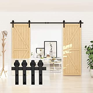 """Best Homlux 10ft Heavy Duty Sturdy Sliding Barn Door Hardware Kit, Double Door-Smoothly and Quietly, Easy to Install and Reusable - Fit 1 3/8-1 3/4"""" Thickness & 30"""" Wide Door Panel, Black(I Shape Hanger) Review"""