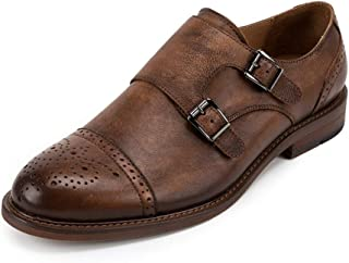 Rui Landed Formal Oxfords for Men Premium Leather Monk Strap Party Dress Slip-ons Brogue Carve Captoe