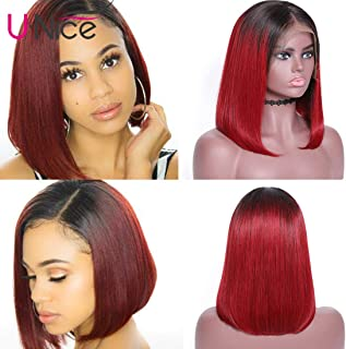 UNice Hair 13X4 Ombre Bob Lace Frontal Wigs Human Hair, Pre Plucked with Baby Hair, Burgundy Red Remy Human Hair Short Bob Wig for Women 1B 99J Color 150% Density (10 inch)