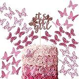 41 Piezas Set de Toppers de Tarta de Mariposa 3D Topper de Torta de Cumpleaños de It's a Girl con Mariposa de Doble Capa Topper para Cupcakes de Mariposa Hueca Decoración de Pastelería
