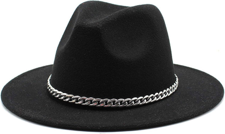 BAJIE Fedora Wide-Brimmed Fedora Hats For Women And Men Imitation Wool Felt Hats Metal Chain Decorative Fedora Hats