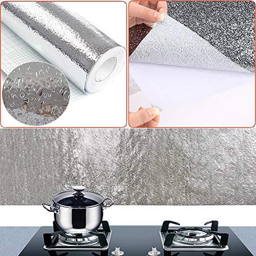Papel de Aluminio Adhesivos de Pared, Autoadhesivo Anti- Aceite Aislante Térmico Película,...