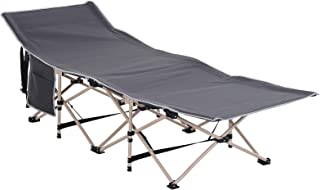 Outsunny Lightweight Folding Camping Cot Military Sleeping Bed with Side Pocket and Carry Bag, Heavy Duty Bed for Adults o...