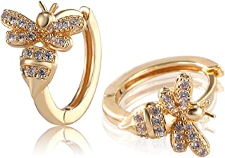 18k Gold Plated Insect Earrings Cute Bumble Bee Cubic Zirconia Hoop Cuff Earrings Stud Hypoallergenic