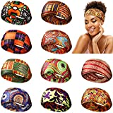 Canlierr 10 Pieces African Headband Boho Print Headband African Turban Wide Elastic Headband Yoga Sports Workout Hairband Stretchy Headwrap for Women Girls Hair Accessories (Chic Patterns)