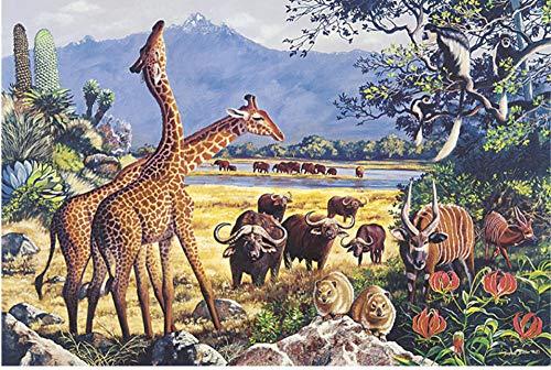N\A 5D - Kit de pintura de diamante para pintura de diamante, diseño de animales de las praderas africanas, jirafa, toro, cabra 30 x 40 cm