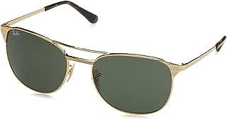 Men's RB3429M Square Metal Sunglasses, Gold/Green, 58 mm
