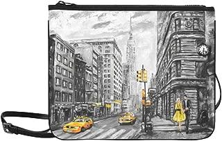 Oil Painting On Canvas Street View Of New York M Pattern Custom High-grade Nylon Slim Clutch Bag Cross-body Bag Shoulder Bag