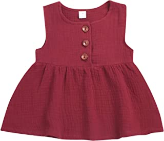 LYSMuch Infant Toddler Baby Girls Summer Dress Sleeveless Playwear Spring Outfits
