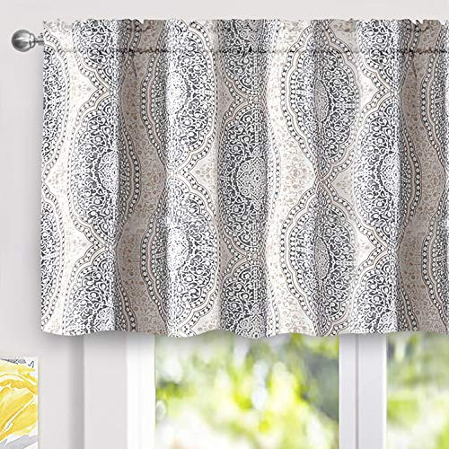 DriftAway Adrianne Damask and Floral Pattern Window Curtain Valance Single 52 Inch by 24 Inch Plus 2 Inch Header Beige and Gray