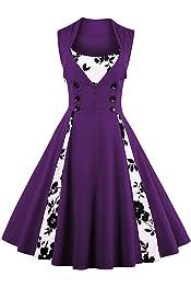 FuliMall Womens 1950s Retro Cocktail Dress Sleeveless Plaid Print Swing Rockabilly Vintage Style Purple
