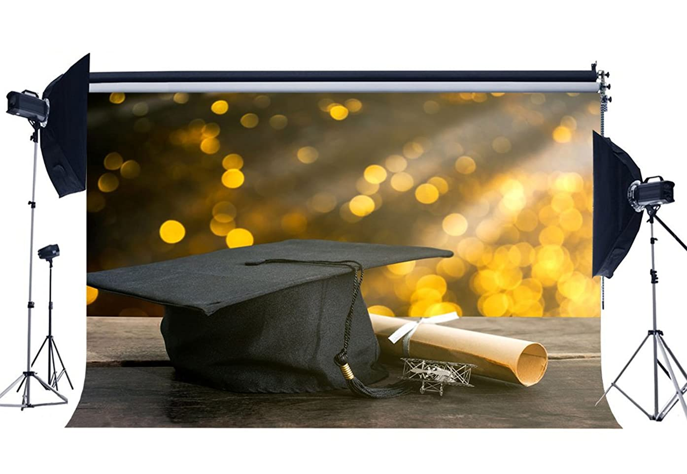 Gladbuy Vinyl 7X5FT Graduation Ceremony Backdrop Diploma Trencher Cap Backdrops Bokeh Glitter Sequins Gloomy Wood Floor Photography Background for Boys Girls School Show Photo Studio Props KX646