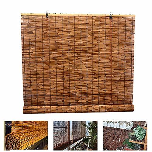 SunLin Rollo Bambus 110 cm Breit, Bambusrollo Aussenbereich, Carbonization Natural Schilf Vorhang Atmungsaktiv, Retro Reed Trennvorhang Mit Lifter, Anpassbar/wasserdicht/schattierung