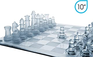 Glass Chess Set, 3 Sizes (7.5/10/14 Inches) Elegant Design, Durable Build, Fully Functional, 32 Frosted and Clear Pieces, Felted Bottoms, Easy To Carry, Reassuringly Stable and the Perfect Present