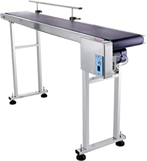 OrangeA Belt Conveyor 59 x 7.8 in Adjustable Conveyor Table 0-82 ft per min Conveyor Belt Stainless Steel Motorized Anti-Static PVC Belt with Single Guardrail