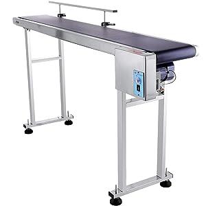Happybuy Belt Conveyor 59 x 7.8 inch Conveyor Table Heavy Duty Stainless Steel Motorized Belt Conveyor for Inkjet Coding Applications Powered Rubber PVC Belt Anti Static (One Guardrail)