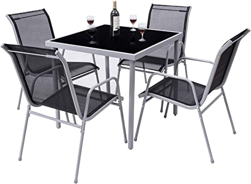 new arrival Giantex Dining Table Set Bistro Set with 1 Table and 4 Chairs Indoor Outdoor Garden Patio Dining Furniture popular with Tempered Glass Tabletop and online Steel Frame (Black) outlet sale
