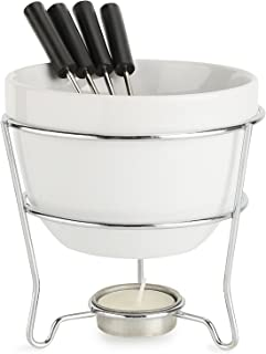 Elegant Chocolate Fondue Bowl Set with 4 Dipping Forks & Tea Light Holder – For the Perfect Melted, Chocolate & Cheese Serving – Even Heat Distribution - Dishwasher, Microwave and Oven Safe 6 oz.