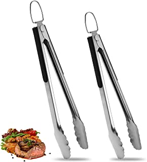 ROMANTICIST 2 Pack Stainless Steel Food Cooking Tongs (9 Inch & 12 Inch), Locking Kitchen Tongs with Non-Slip Grip, Set of...