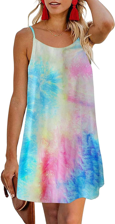 Summer Dress for Women Spaghetti Strap Slip Dress Tie dye Floral Leopard Printed Ladies Casual Beach Party Dress