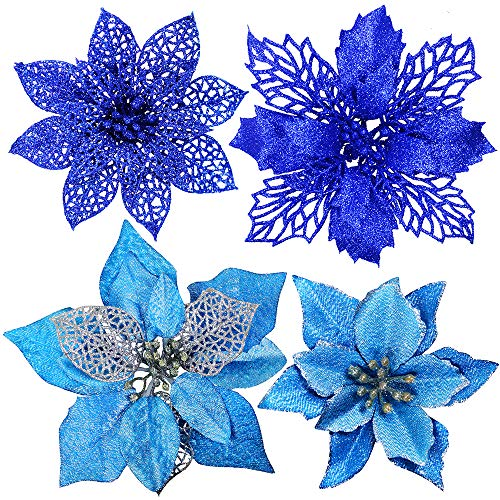 24 Pcs 4 Styles Christmas Blue Metallic Mesh Glitter Artificial Poinsettia Flower Stems Tree Ornaments in Box for Blue Christmas Tree Wreaths Garland Floral Gift Winter Wedding Holiday Decoration