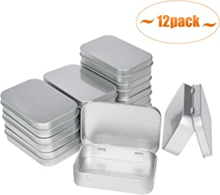 Aybloom Metal Rectangular Empty Hinged Tins - 12 Pack Silver Mini Portable Box Containers Small Storage Kit & Home Organizer