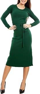 Toocool - Vestito Lungo Donna Maglione Abito Costine Aderente Cintura Sexy VI-8921