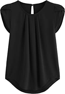 Milumia Women's Casual Round Neck Basic Pleated Top Cap Sleeve Curved Keyhole Back Blouse
