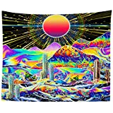 Bohemian Hippie Tapestry Abstract Trees Tapestry Colorful Nature Landscape Tapestries Psychedelic Tapestry Trippy Mountain Sun Tapestry Wall Hanging for Dorm Living Room (TYPE 2)
