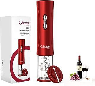 Apribottiglie elettrico Cheer moda, Apribottiglie a batteria 4A con taglia-fogli, Batteria senza filo non inclusa (Rosso)