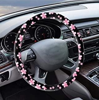 Carmen Microfiber Leather Flower Steering Wheel Cover Cute Fashionable Durable Wheel Handle Protector Universal 15 Inch (Cherry Blossoms)
