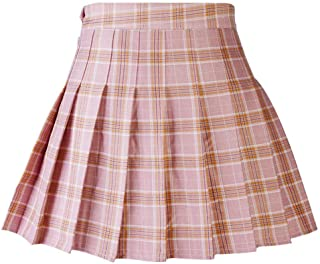 Abberrki Women's High Waist Plaid Mini Skirt A-Line Pleated Skirt School Uniforms Short Skirt