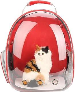 POPETPOP Mochila transportadora de burbujas transparente para mascotas (rojo)