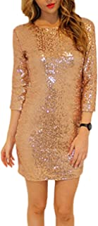 COODIO Women Fashionable Slim Sequined Backless Round Collar Dress Delicate Long Sleeve Tight Dress