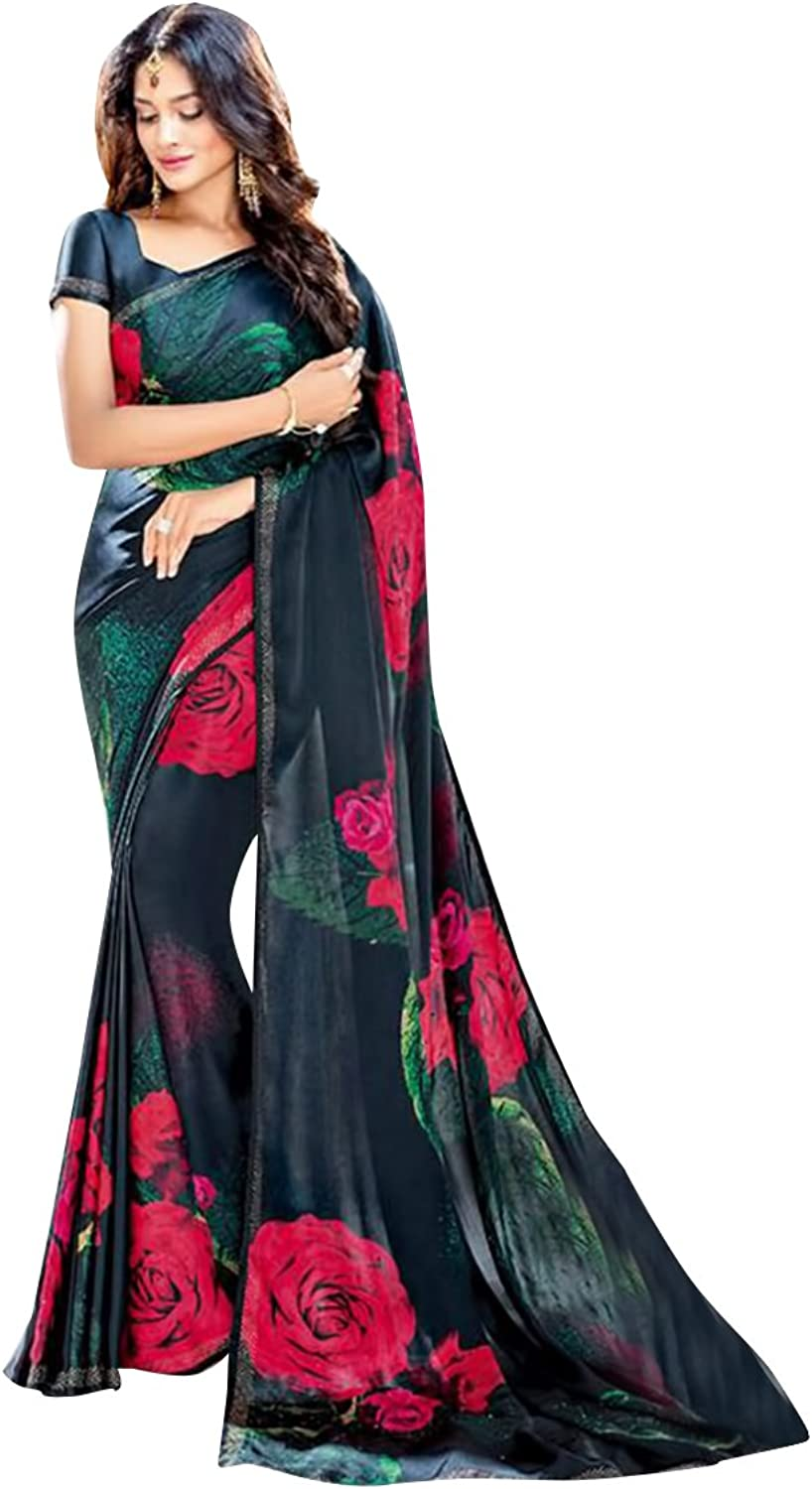 Bollywood Satin Swarovski Work Saree Sari Blouse Wedding Ceremony Party Wear
