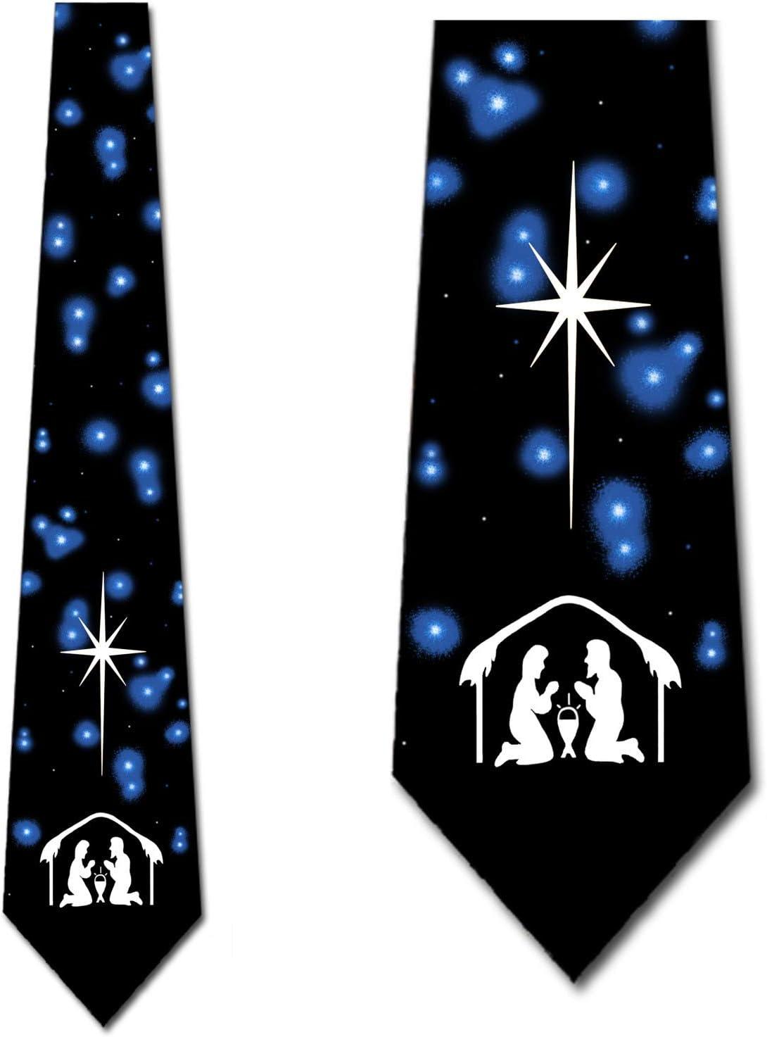 Nativity Ties Mens Religous Christmas Ties Holiday Neckties by Three Rooker