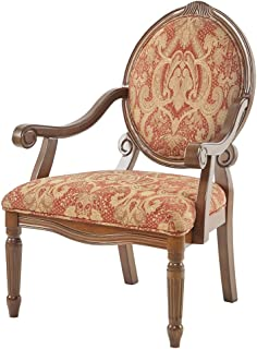 Madison Park Brentwood Accent Chairs-Birch Hardwood, Hand Carved Scroll Design Living Armchair Modern Classic Style Family Room Sofa Furniture Bedroom Lounge, Medium, Red