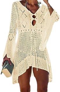 MogogNWomen Bell Sleeve Fashion High Low Hem Knit UPF50+ Swimsuit Cover-Up