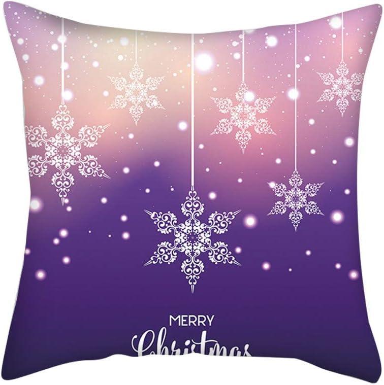 Loneflash Christmas Decor Christmas Pink Purple Snowflake Digital Printing Cushion Pillow Home Pillowcase Christmas Series Pillow Cover 18X18