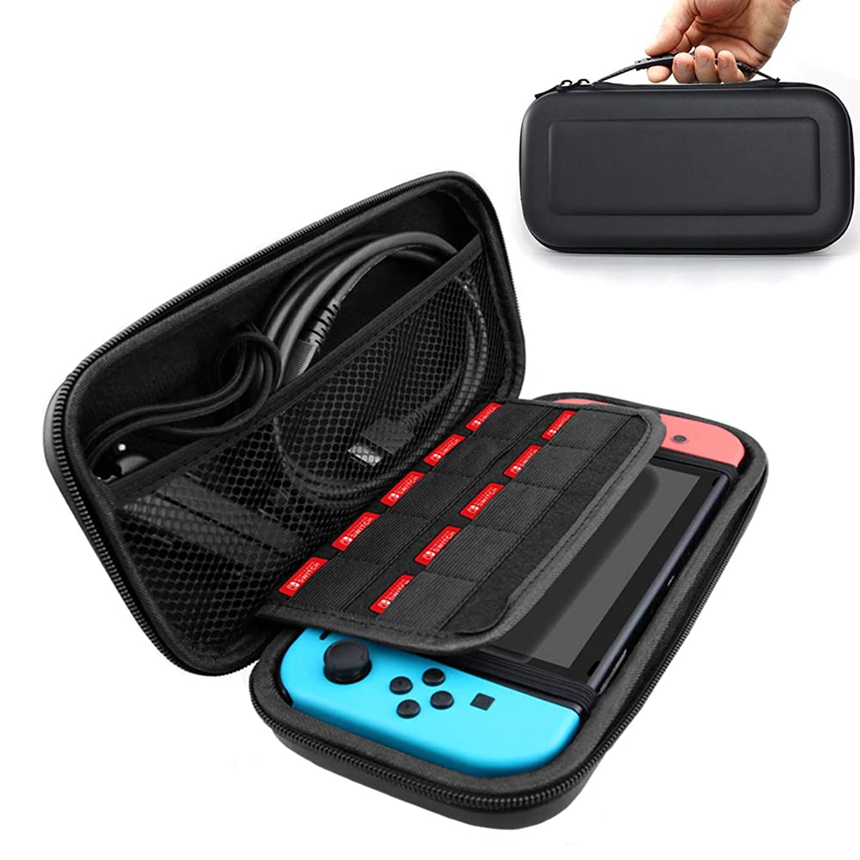 城急ぐ伝統的Nintendo Switch ケース CANEOV 任天堂スイッチ ケース Nintendo Switch 専用の保護ケース 収納バッグ 大容量 全面保護型 耐衝撃 防水 防塵 防汚,19個カート/ケーブル/イヤホンなど小物収納可(ブラック)