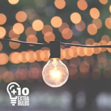 50ft Black String Lights, 60 G40 Globe Bulbs (10 Extra), Connectable, Waterproof, Indoor-Outdoor Globe String Lights for Patios, Parties, Weddings, Backyards, Porches, Gazebos, Pergolas and More