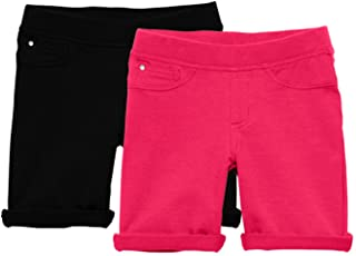 KIDPIK Shorts for Girls - 2 Pack Kids 5 Pocket Knit Bermuda Spring or Summer Shorts