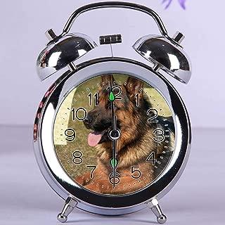 GIRLSIGHT Cute Color Alarm Clock, Round Metal Desk Clock with Night Light Bedroom Decorations 029.Adult German Shepherd on Grass Field(Silver)
