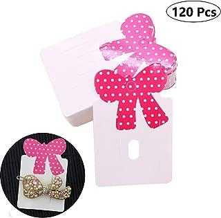 120 Pcs Cute Bowknot Carboard Hair Clip Hair Bows Display Cards