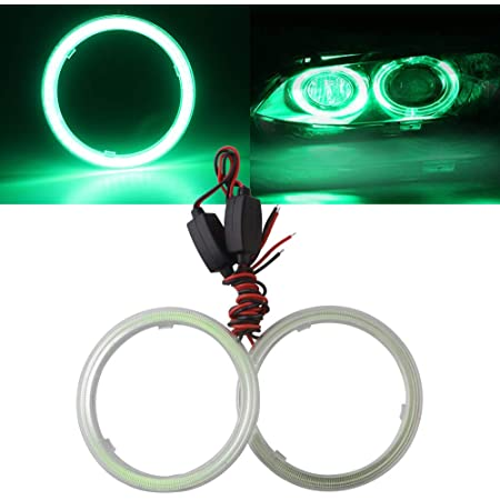 2x 60-110MM White Amber COB LED Angel Eyes Halo Light Headlight Fog Lamp Kit