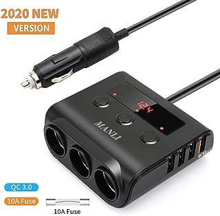 MANLI - Adaptador de carga rápida 3.0 para encendedor de cigarrillos, 12 V/24 V, 100 W, 3 enchufes, cargador de coche con 4 puertos de carga USB y voltímetro LED, cargador de coche