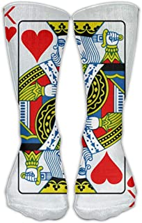Poker Hearts King 3D Printing Long Calcetines